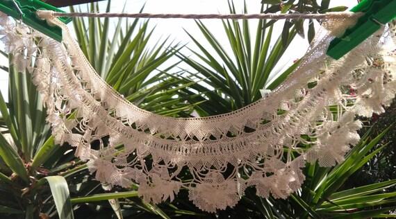 Victorian French Bobbin Lace Collar Lace Applique Antique French Beige Cotton #sophieladydeparis