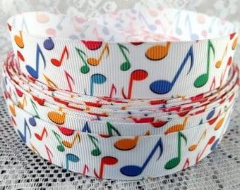 """Music notes Ribbon Musical ribbon music notes 7/8"""" grosgrain ribbon"""
