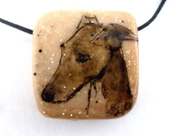 Sighthound pendant handpainted on polymer clay