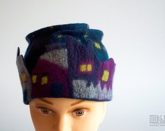 Blue wool hat, Night city, hand felted hat, wet felted hat, Blue beannie hat, merino wool hat, Blue toque hat, Blue pill box hat, ooak