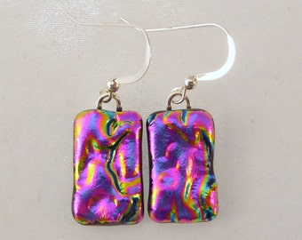 Pink Dichroic Fused Glass Dangle Earrings, Fused Glass, Fused Glass Earrings, Dichroic Earrings, Dangle Earrings, Dichroic, Dichroic Jewelry