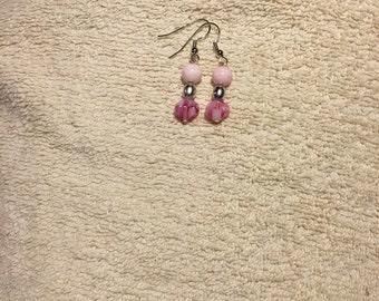 Pink with Metallic Gray Earrings
