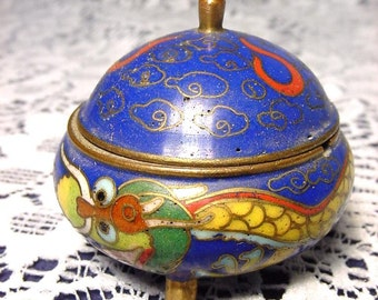 Fabulous Antique Cloisonné Snuff Box Container with Copper Spoon Dragon Rare Form Cobalt Blue Enamel Body