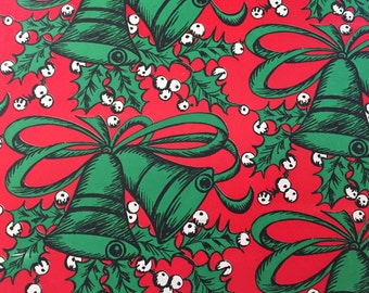 Vintage Wrapping Paper - Mistletoe and Christmas Bells - Red and Green Jingle Bells - 1 Unused Full Sheet Christmas Gift Wrap