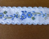 White Trim with Blue Flowers