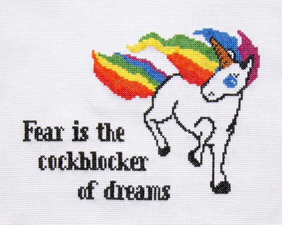 "PATTERN: 5"" x 7"" Fear is the C###blocker of Dreams Unicorn"