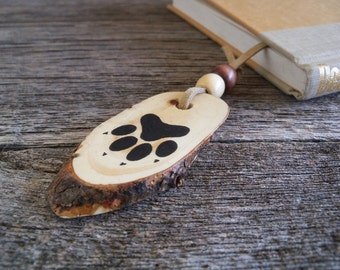 Wooden Bookmark with Dog Track / Handmade Bookmark with Animal Tracks / Rustic Bookmark / Dog Bookmark / Dog Lover Gift