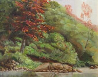 Reflection,trees,  water, hill, tree scene, green,,sky, peaceful,beautiful.