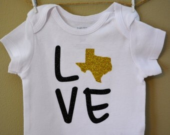 Baby bodysuit, State Love, Texas, TX, Southern, custom, girl clothing, toddler shirt, baby shower gift, baby girl clothes