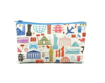World Traveler Makeup Bag,  Zipper Pouch, Zipper Bag,  Cosmetic Bag, Zipper Pouch , Makeup Pouch, Tampon Case, Cosmetic Bag,