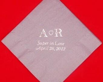 125 Personalized monogram luncheon napkins wedding favors bridal shower baby shower custom printed napkins pary favors