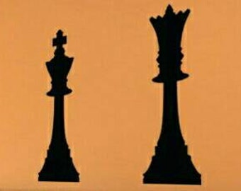 King and Queen Chess Pieces, Fast Shipping within 24-48 hours Unique Headboard Vinyl Wall Decal Decor