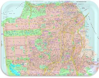 "San Francisco Street Map TV Tray 17""x13"""