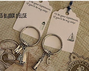 Set of 2 Personalized Lighthouse and Ship Keychains Couple Keychains Best Friends Keychain His and Hers Keychains Valentine Keychains (KC42)