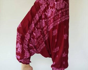 HL0012 Harem Pants in Red wine color Unisex Low Crotch Yoga Trousers gypsy pants rayon pants,aladdin pants maxi pants boho pants