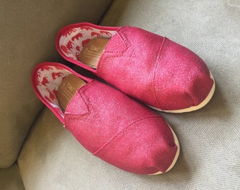 Red Glitter Toms. [Dorthy Toms] red glitter toms. Red Sequin Toms. Ruby Red Slippers.