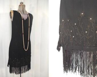 Vintage 1990s Dress / 90s Black 1920s Style Flapper Dress / 20s Dress / Black Rhinestone Flapper Costume / Black Party Dress