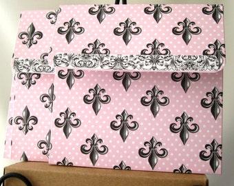 8 CD DVD Envelopes Folders Sleeves Case Pink & Black Fleur de Lis Square Envelopes Photography Wedding CD case holder 5-1/4 x 5-1/8 x 1/8