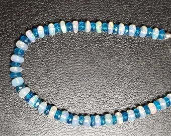 23.06ctw African Opal & Neon Blue Apatite Sterling Silver Bracelet 7 in