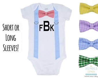 Monogrammed Suspender and Bow Tie Bodysuit with Interchangable Bow Tie: Baby Boy, Easter, Preemie, Coming Home Outfit, Family Photos