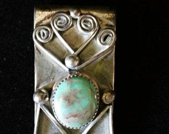 Vintage Sterling Silver & Turquoise Money Clip, Estate Jewelry, Southwest Jewelry, Old Pawn,