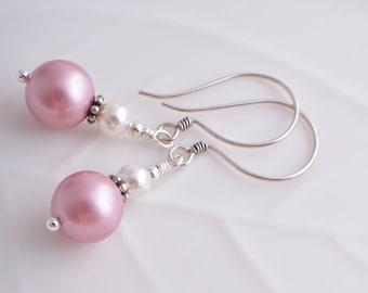 Pink pearl earrings Swarovski pearl drop earrings UK seller dangle earrings powder pink and white