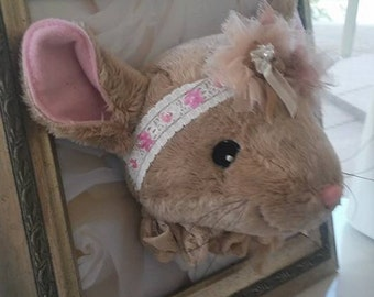"""Baby Mouse """"Mazie""""/Faux Taxidermy/Little Girl/Nursery/Room Decor/Door/Decoration"""