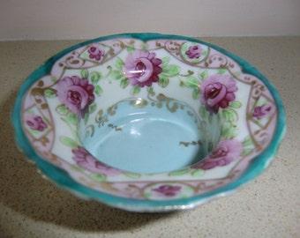 vintage porcelain salt cellar Dip, Dish Hand Painted lovely Pink Roses