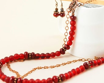 Red Beaded Necklace, Red necklace earring set, Red jewellery set, Red Statement necklace, Bold statement set, Layering necklace, Handmade