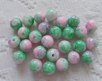27  Pink Jade Green & White Splattered Round Ball Glass Beads  8mm