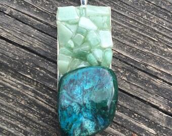 Chrysocolla stone & Green Aventurine handmade pendant metaphysical magick gypsy hippie pagan bohemian boho chakra new age jewelry