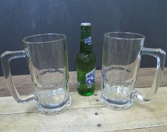 Set of 2 Giant Quart Glass Beer Mugs Steins