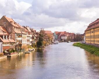 Germany photography, bamberg photograph, european architecture, fine art photography, travel home decor, travel photography, reginitz river