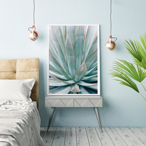 Botanical photography, blue agave, agave art, southwest decor, modern botanical, nature photography, abstract, blue green, large wall art