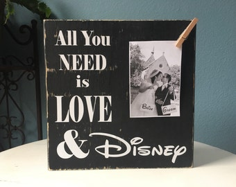 Disney Picture Frame Sign | All you Need is Love |  Wedding Bridal Shower Gift