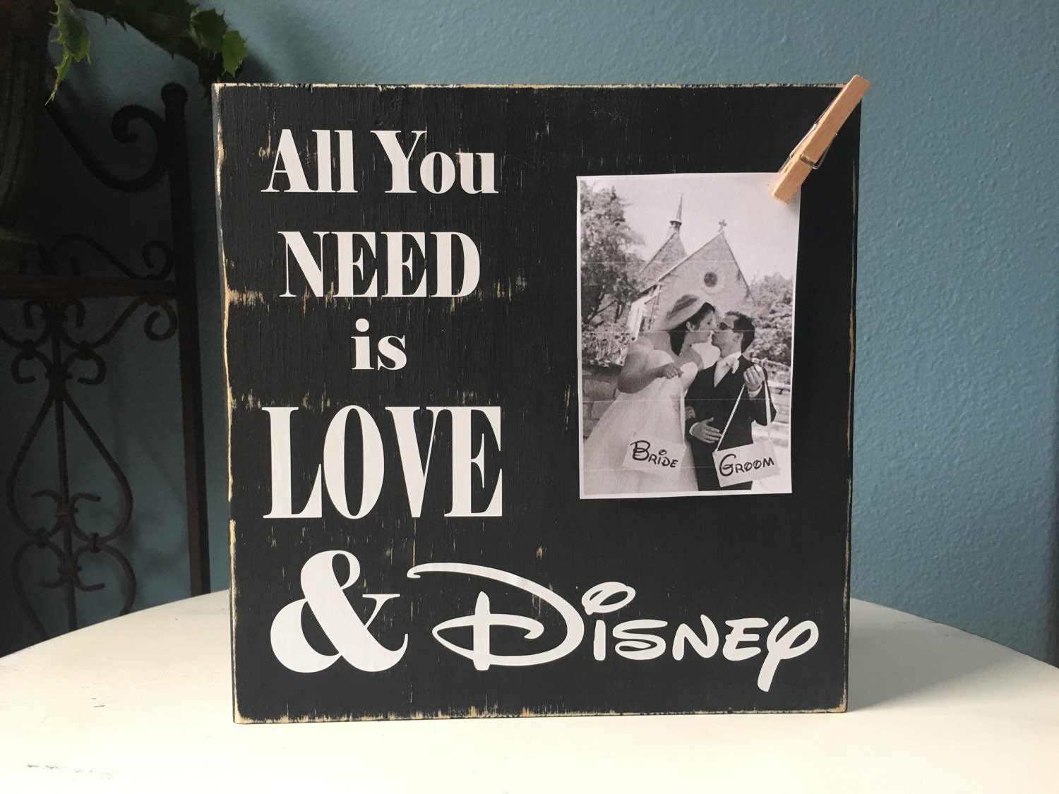 Personalized Disney Wedding Gifts: Disney Picture Frame Sign All You Need Is Love Wedding