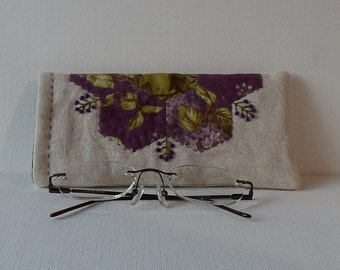 Hand Made Eye Glasses Case Linen & Cotton Purple Lilacs