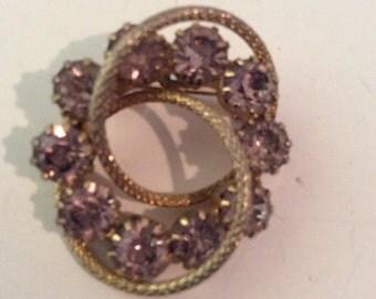 Purple brooch 1-1/4 in