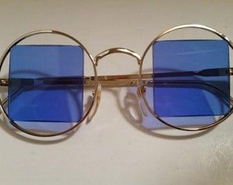 Vintage Hippie Round Gold Tone Frames with Blue Square Lenses Sunglasses, Hippie Round Blue Lenses, Blue Square Lenses