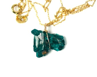 Dioptase necklace - druzy necklace - raw green crystal necklace - a wire wrapped dioptase on a 14k gold filled chain
