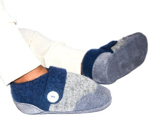 Baby Boy Cashmere Shoes, Baby Girl Cashmere Slippers, Wool Toddler Slippers, Eco-Friendly and Handmade.Sizes: 0-12M, 6-18M & 12-24M