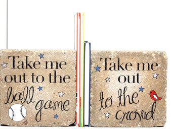 Baseball Bookends / Rustic Boy Bookends / Sports Bedroom Decor / Heavy Child Bookends / Baseball Theme