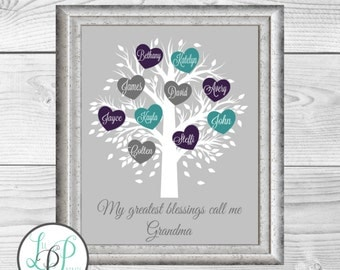 Personalized Grandmother's Gift, Grandma Mother's Day Gift, Custom Grandmother Gift, Mother Gift,Family Tree Personalized, Mom Gift
