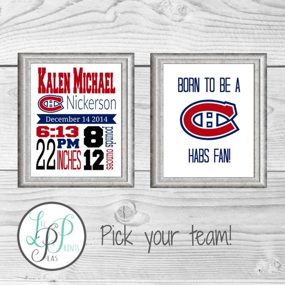 Hockey Birth Stats Print, Hockey Nursery, Hockey Decor, Sports Birth Announcement, Sports Nursery Decor, Baby Hockey Fan, Hockey Baby Gift