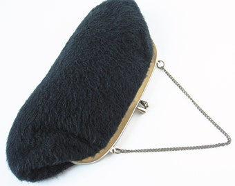 Vintage Black Clutch Kiss Lock Clutch With Chain Wool Clutch Winter Purse Fuzzy Purse Evening Bag Vintage Purse Vintage Clutch Wool Handbag
