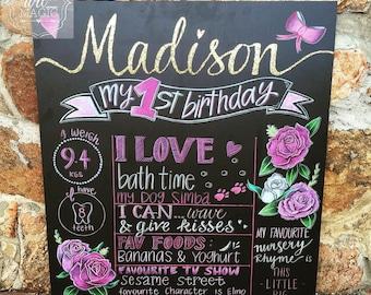 Girls First Birthday Chalkboard Sign.