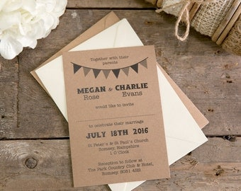 Bunting Collection Wedding Invitation A6 Postcards With Choice of Envelopes - Set of 25