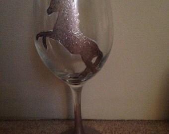 Unicorn Handpainted Wine Glass