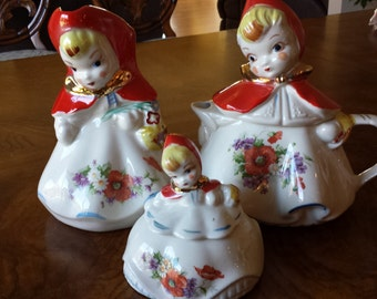 Hull Pottery Red Riding Hood Teapot, Milk Pitcher and Covered Sugar