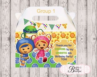 Team Umizoomi party favor box, Umizoomi gable box, 10 Team Umizoomi party favor gable box, Umizoomi favor box